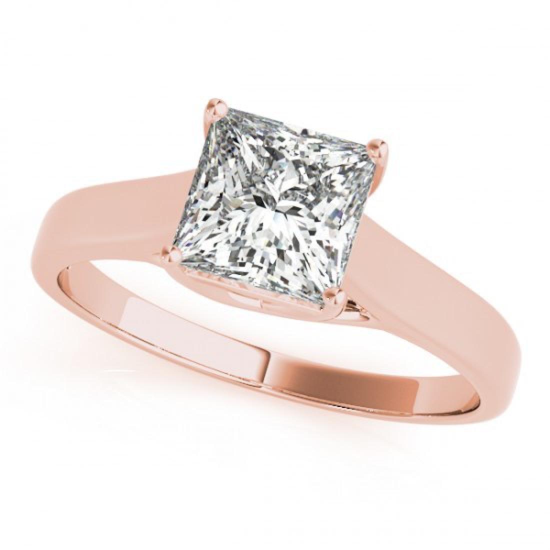 0.75 CTW Certified VS/SI Princess Diamond Ring 14K Rose - 2