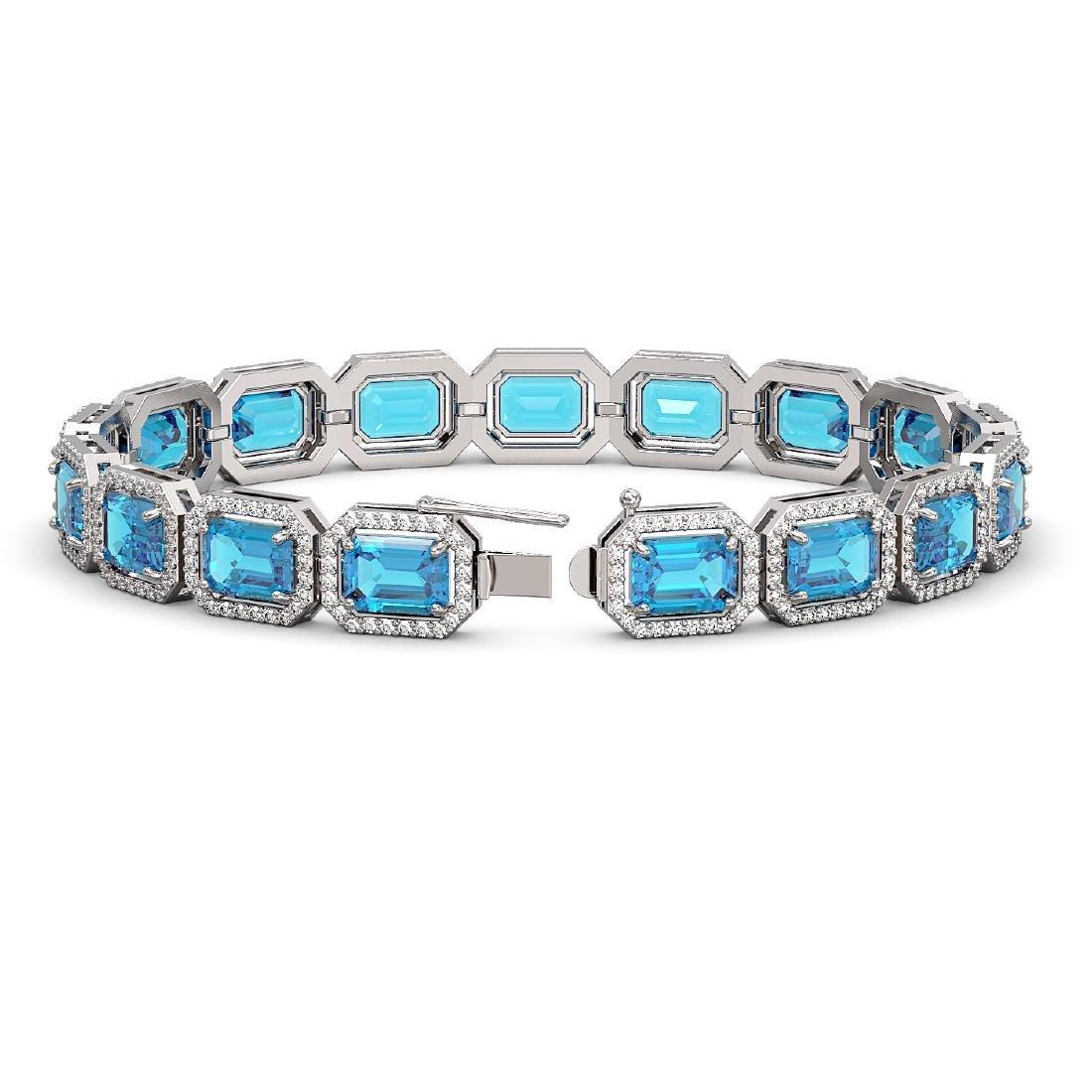 23.66 CTW Swiss Topaz & Diamond Halo Bracelet 10K White - 2