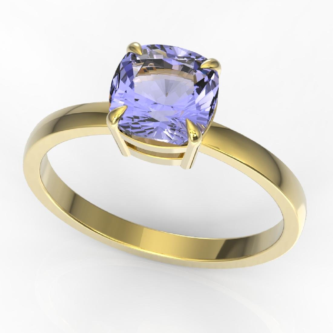 2 CTW Cushion Cut Tanzanite Designer Engagement Ring - 2