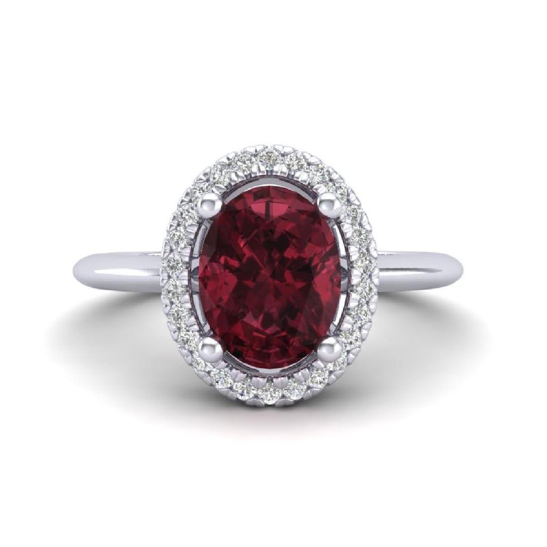 1.75 CTW Garnet & Micro Pave VS/SI Diamond Ring Halo