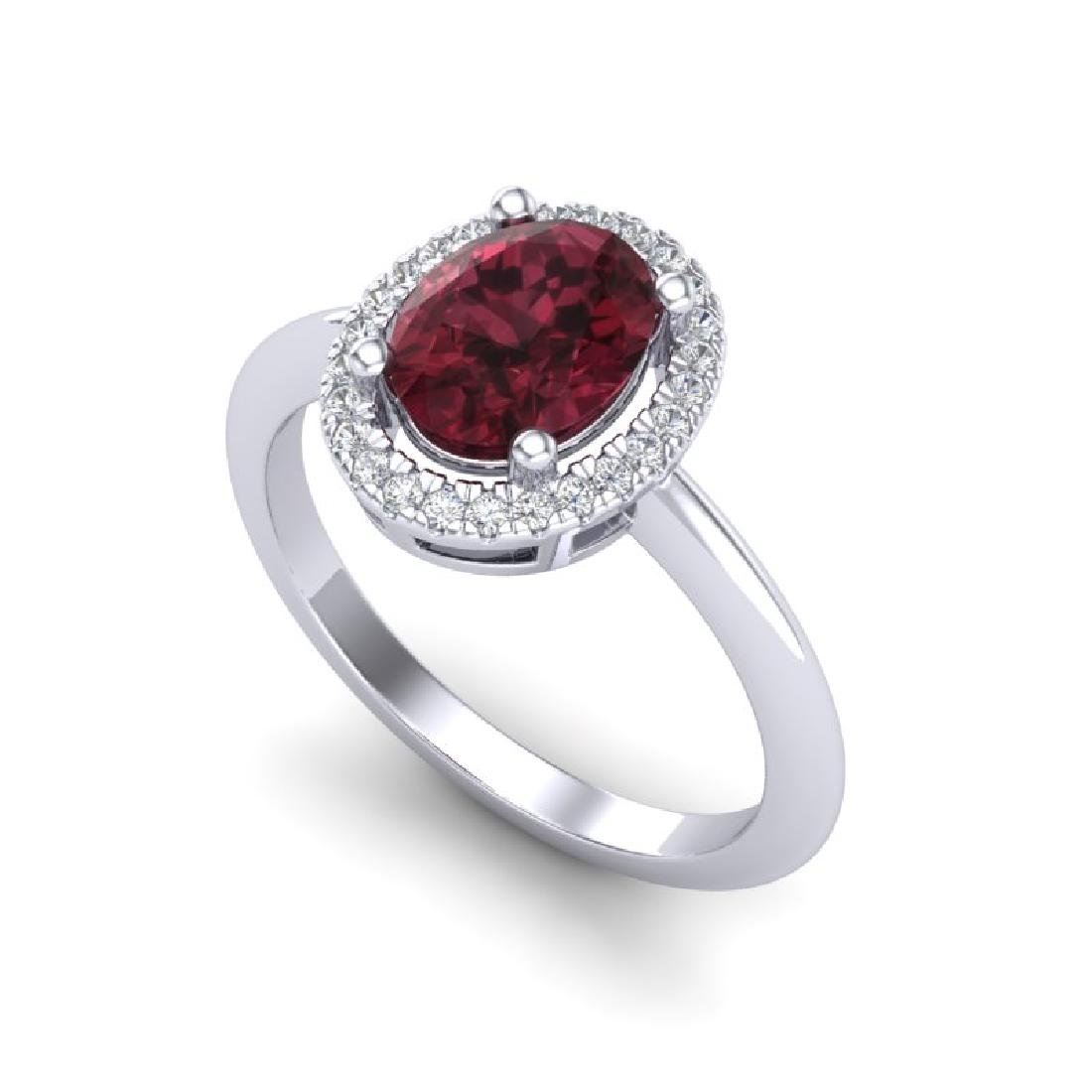 1.75 CTW Garnet & Micro Pave VS/SI Diamond Ring Halo - 2