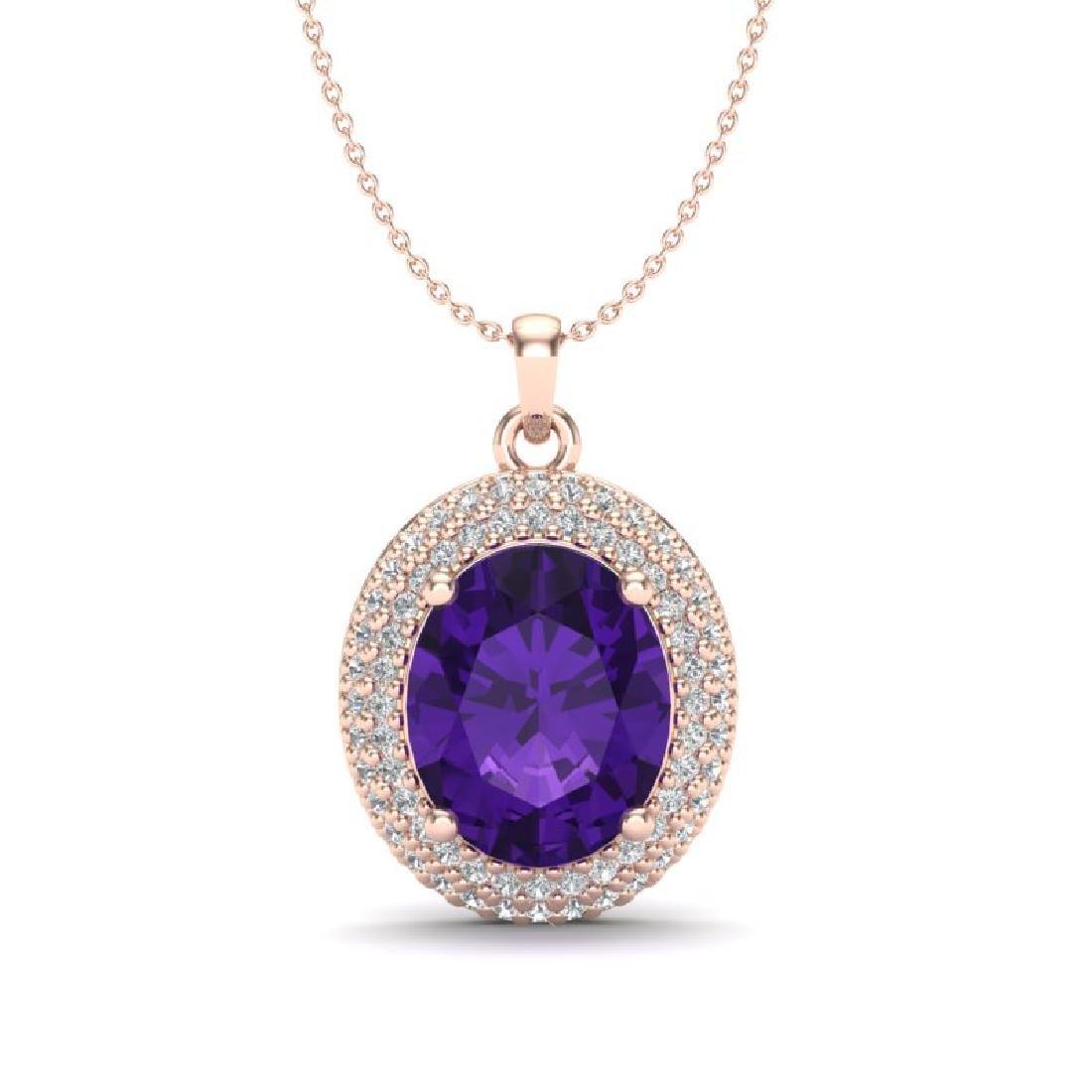 4 CTW Amethyst & Micro Pave VS/SI Diamond Necklace 14K