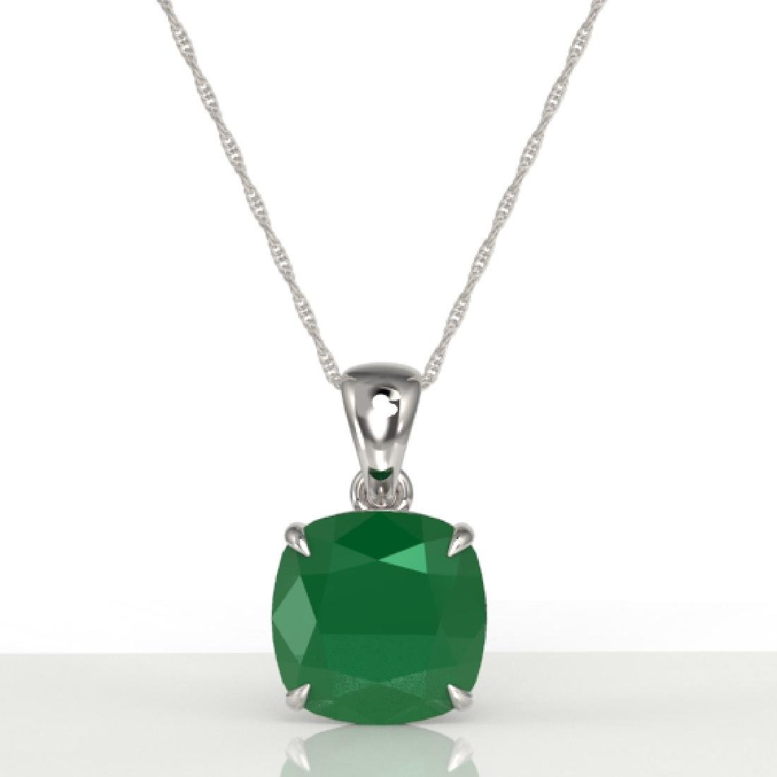6 CTW Cushion Cut Emerald Designer Solitaire necklace - 2