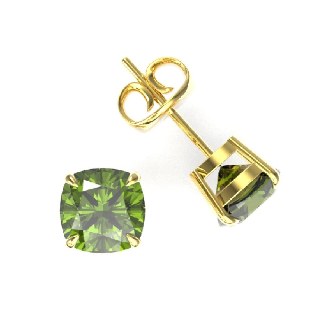 4 CTW Cushion Cut Green Tourmaline Designer Stud - 2