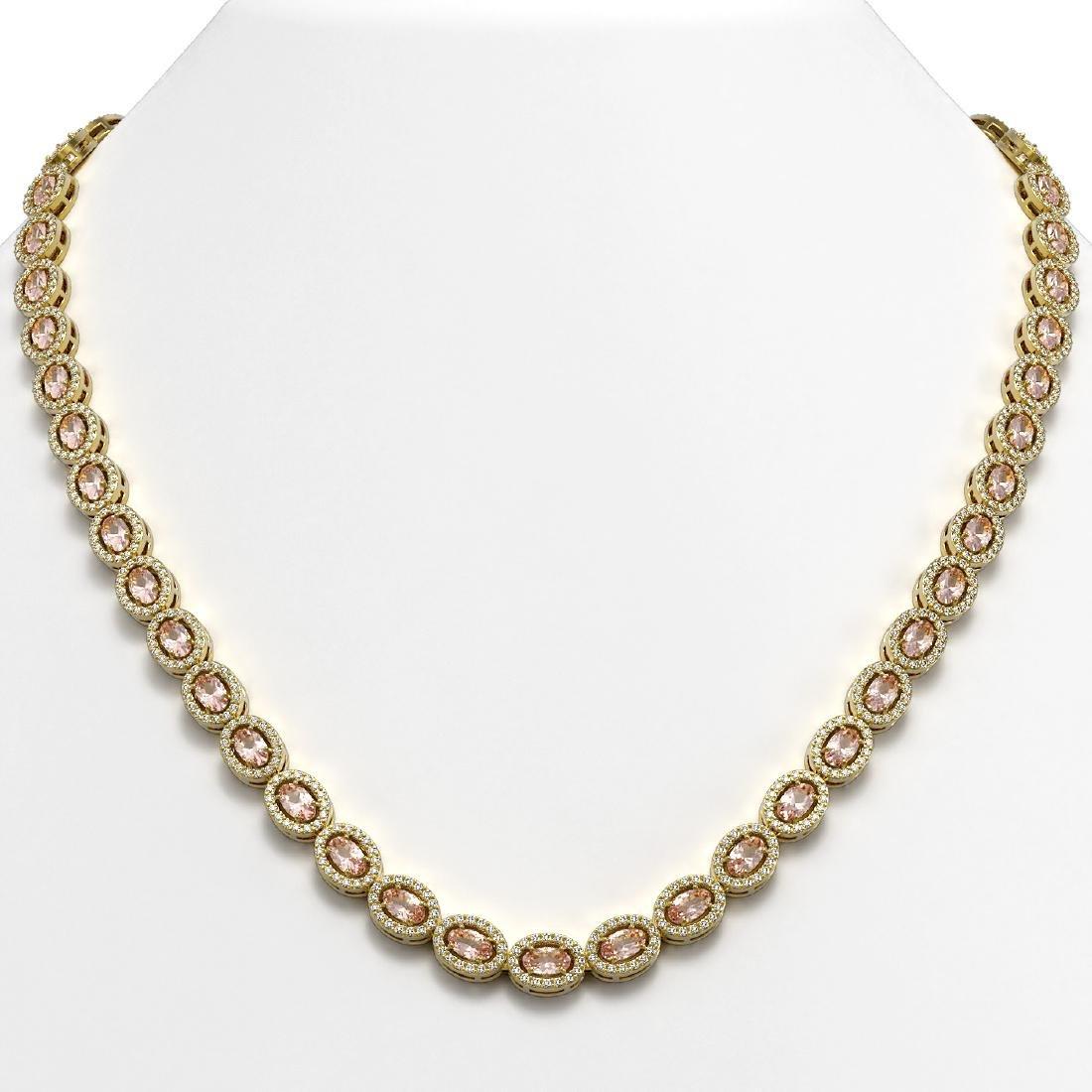 23.48 CTW Morganite & Diamond Halo Necklace 10K Yellow