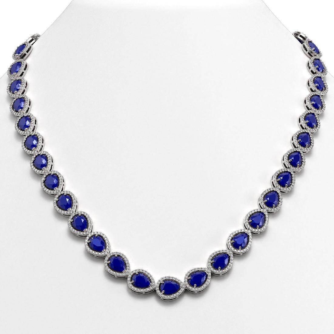 45.93 CTW Sapphire & Diamond Halo Necklace 10K White