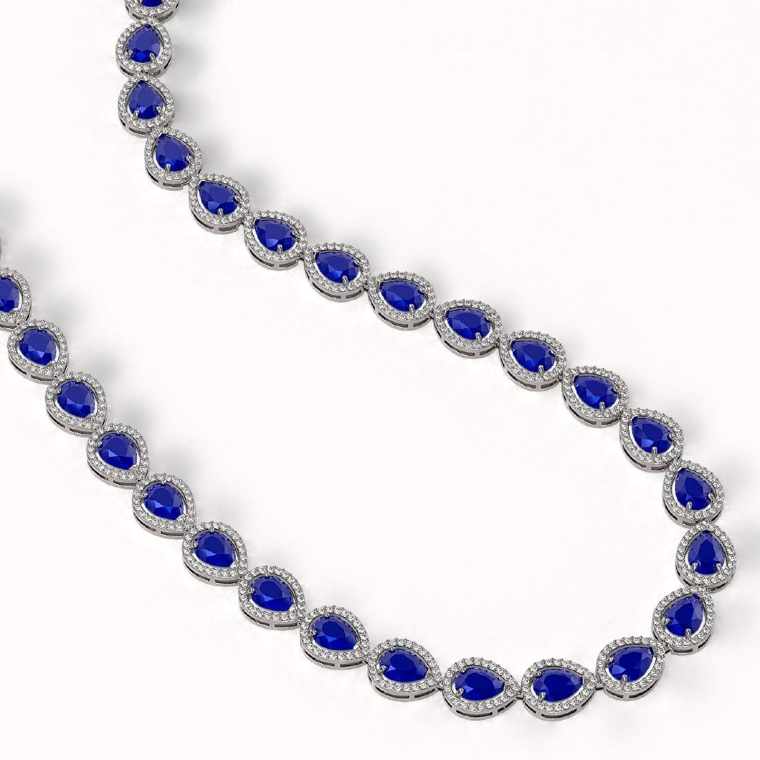 45.93 CTW Sapphire & Diamond Halo Necklace 10K White - 2