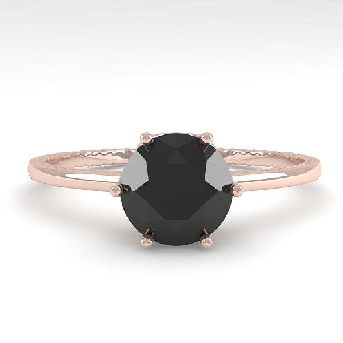 1.0 CTW Black Diamond Art Deco Ring 14K Rose Gold