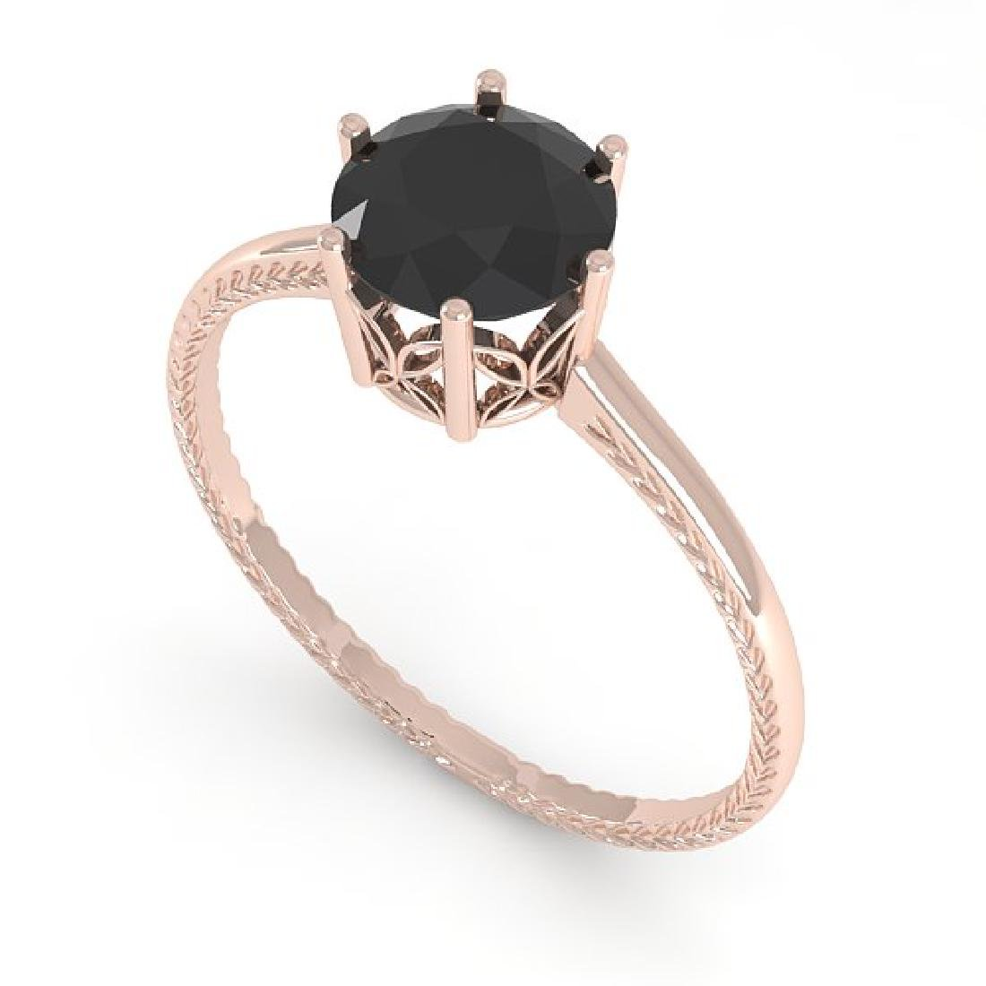 1.0 CTW Black Diamond Art Deco Ring 14K Rose Gold - 2