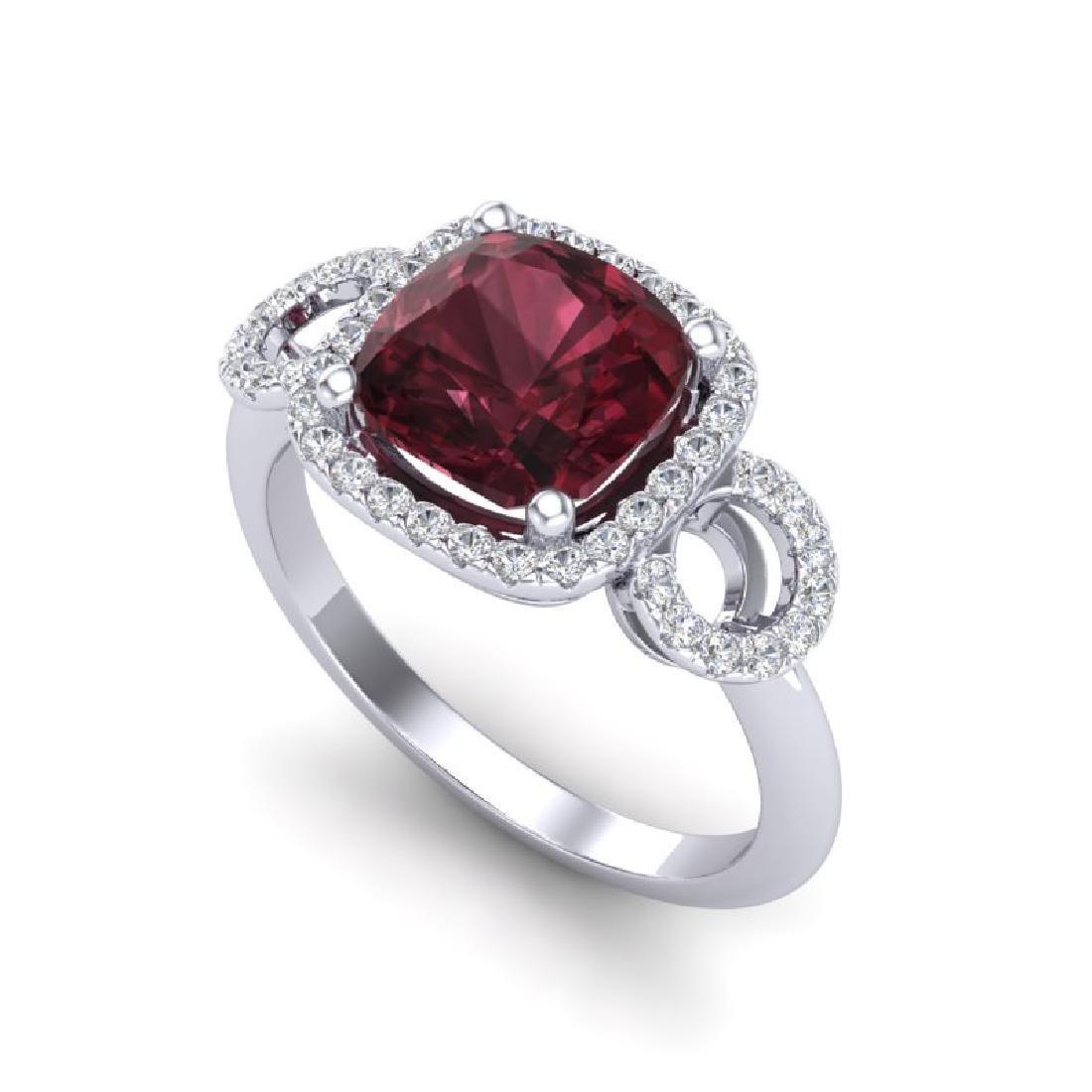 3.75 CTW Garnet & Micro VS/SI Diamond Ring 18K White - 2