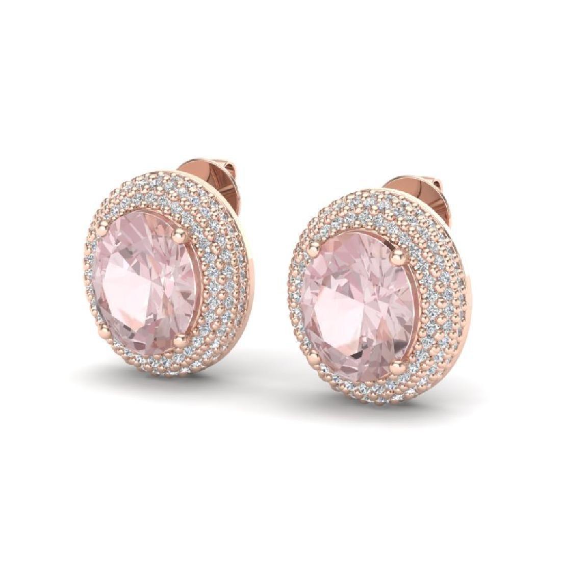 9 CTW Morganite & Micro Pave VS/SI Diamond Earrings 14K