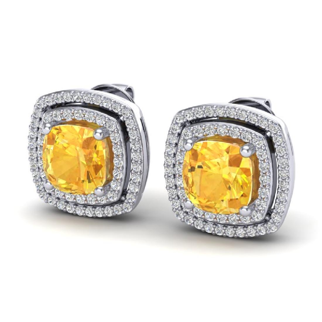 3.55 CTW Citrine And Micro Pave VS/SI Diamond Halo