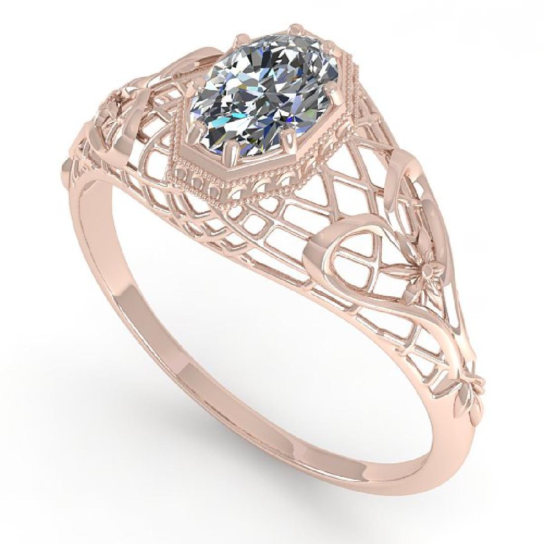 0.50 CTW VS/SI Oval Diamond Solitaire Ring Art Deco 14K - 2