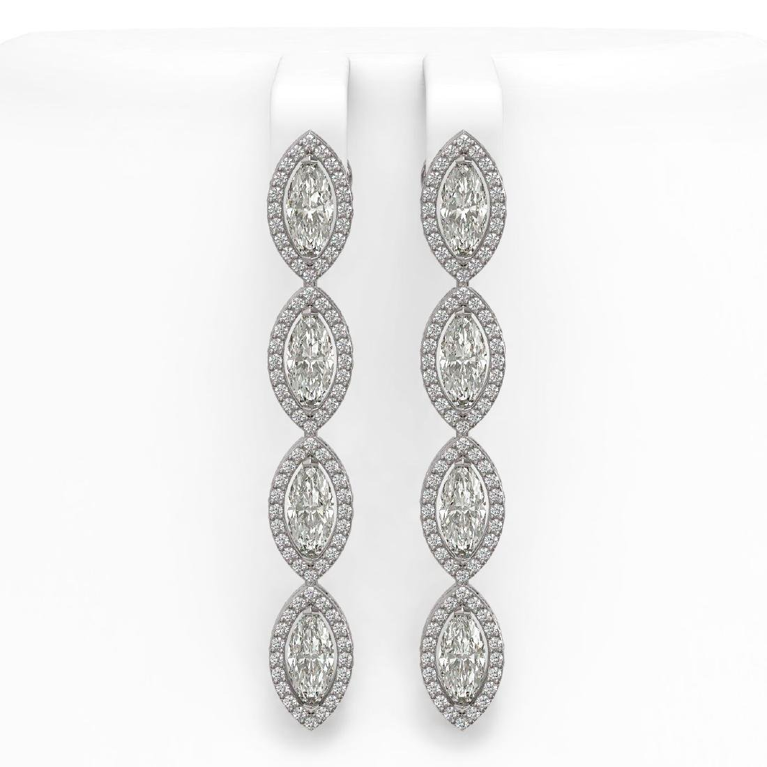 5.33 CTW Marquise Diamond Designer Earrings 18K White