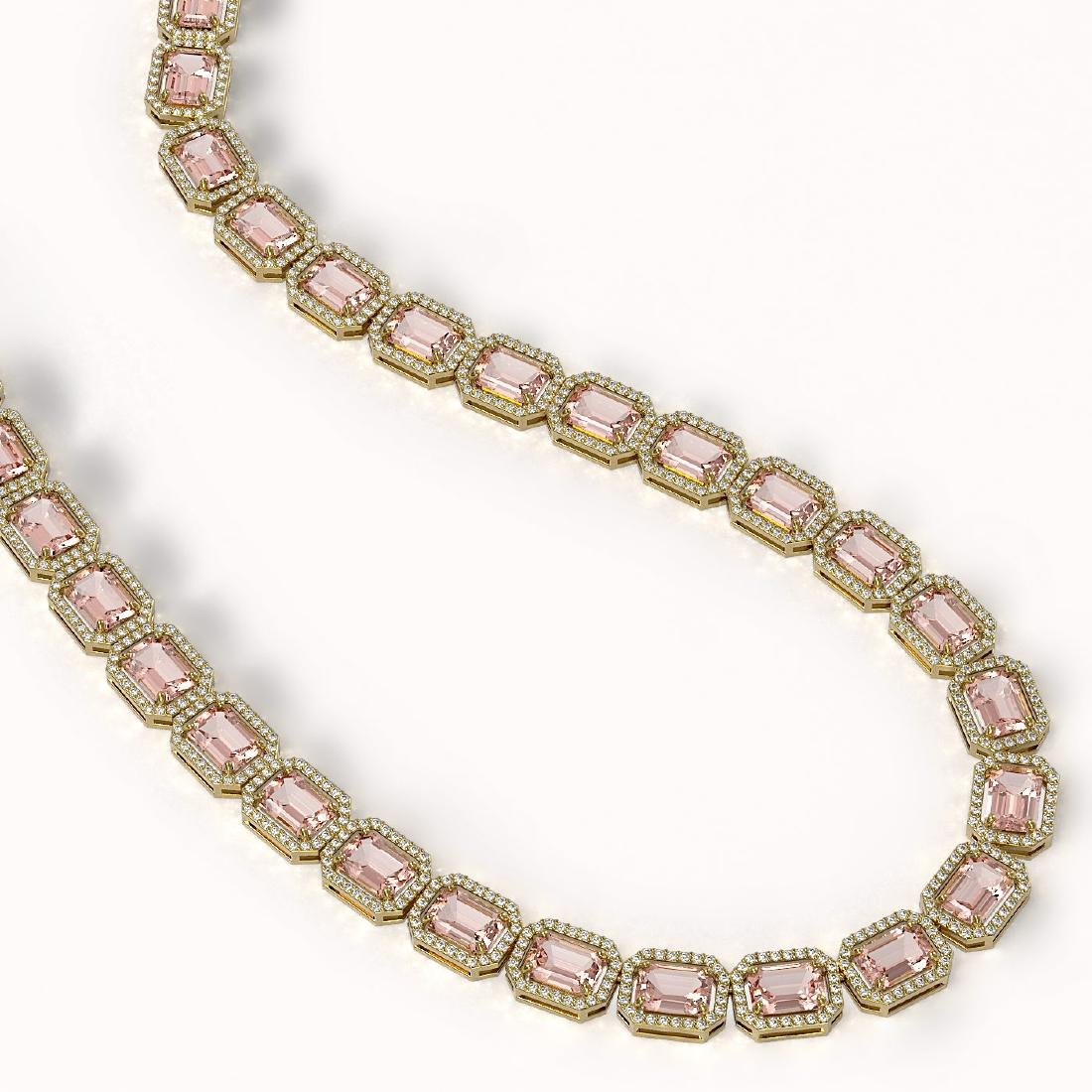 50.99 CTW Morganite & Diamond Halo Necklace 10K Yellow - 2