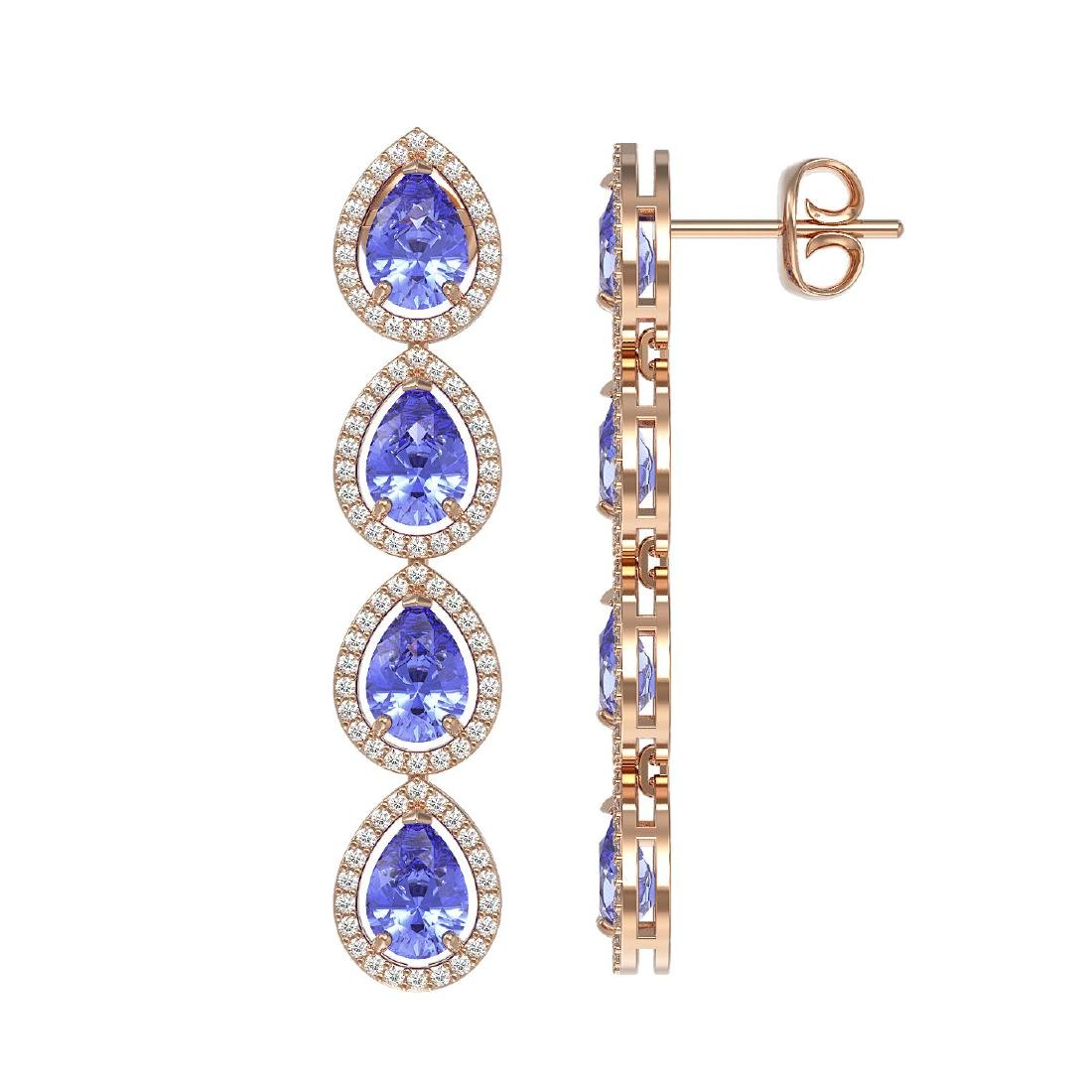 9.01 CTW Tanzanite & Diamond Halo Earrings 10K Rose - 2