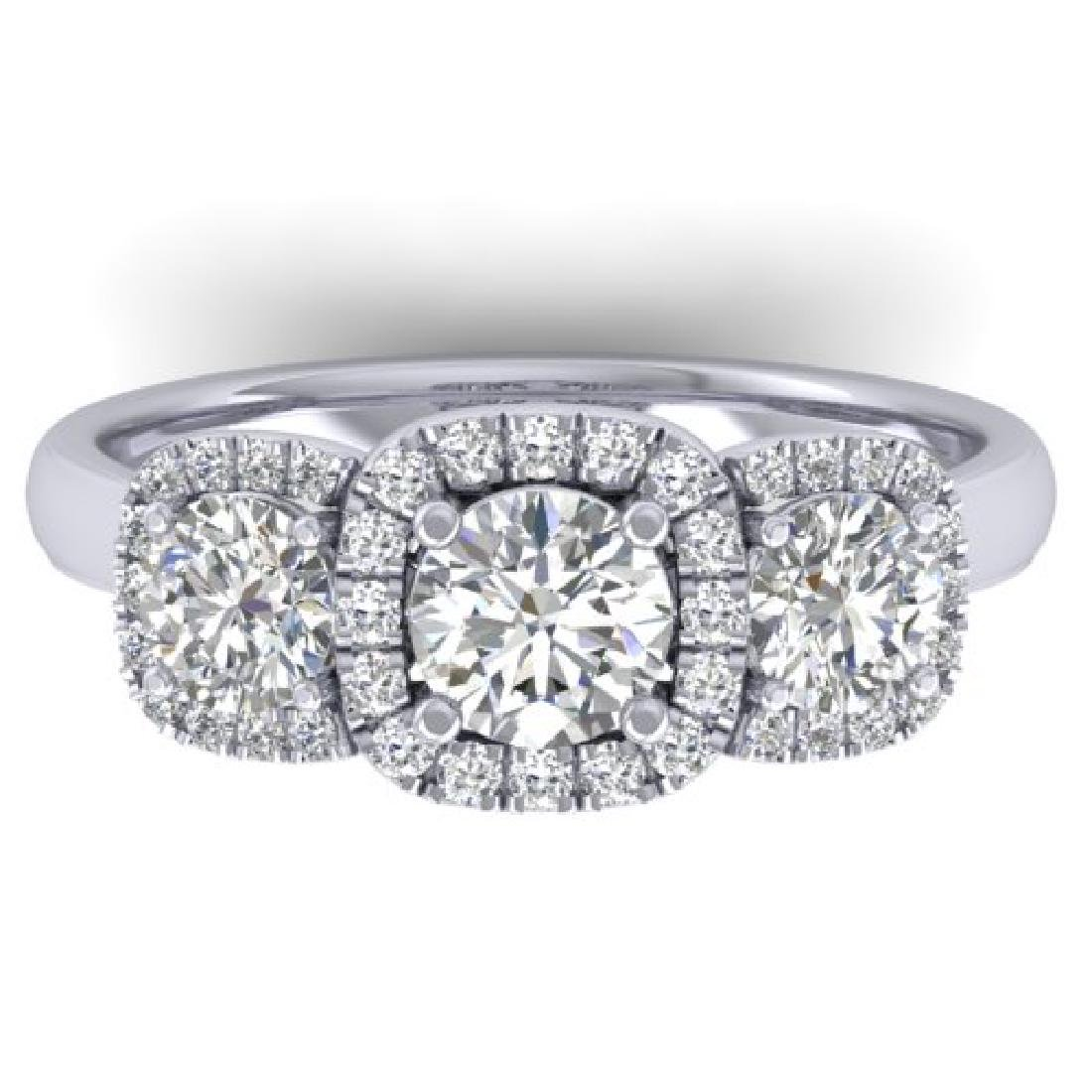 1.55 CTW Certified VS/SI Diamond Solitaire 3 Stone Ring