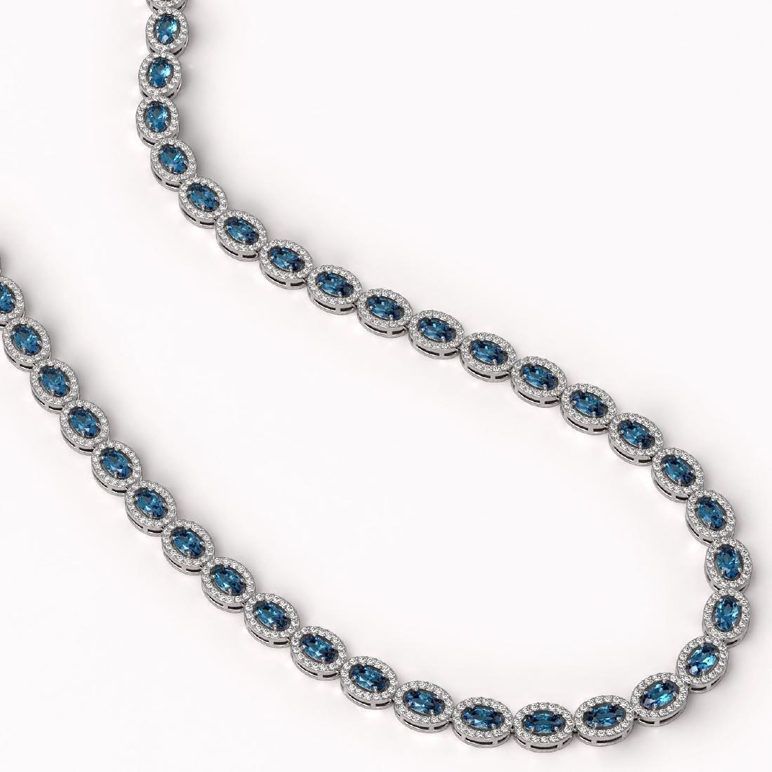 24.07 CTW London Topaz & Diamond Halo Necklace 10K - 2