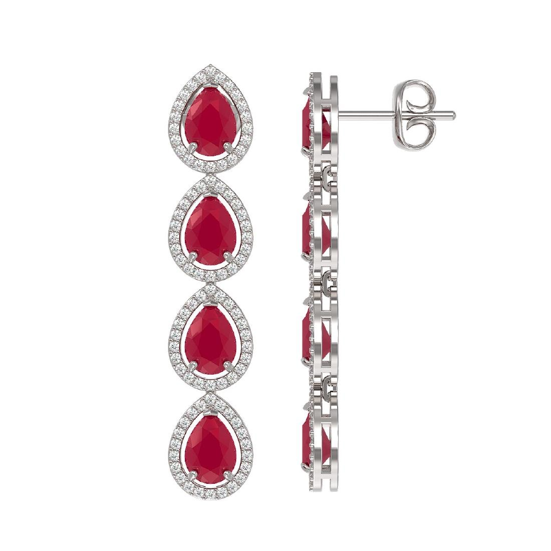 10.2 CTW Ruby & Diamond Halo Earrings 10K White Gold - 2