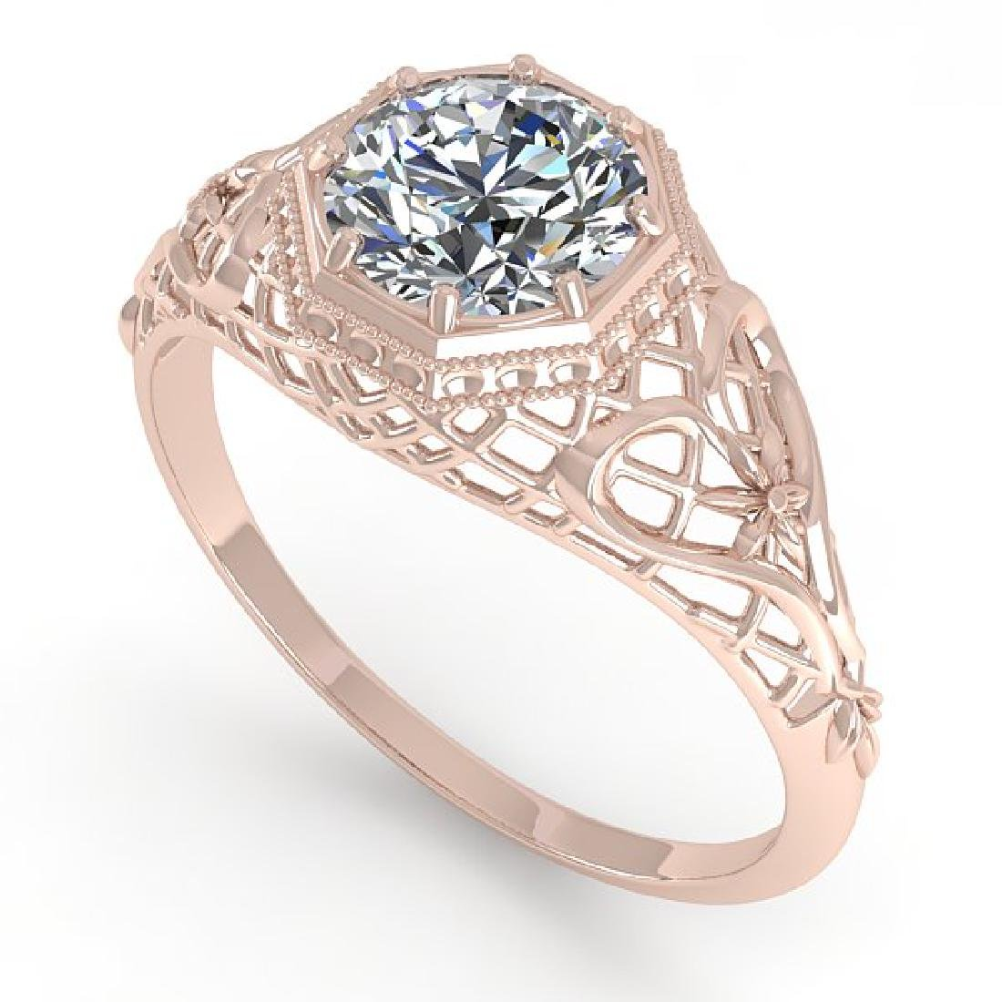 1.01 CTW VS/SI Diamond Solitaire Ring 14K Rose Gold - 2