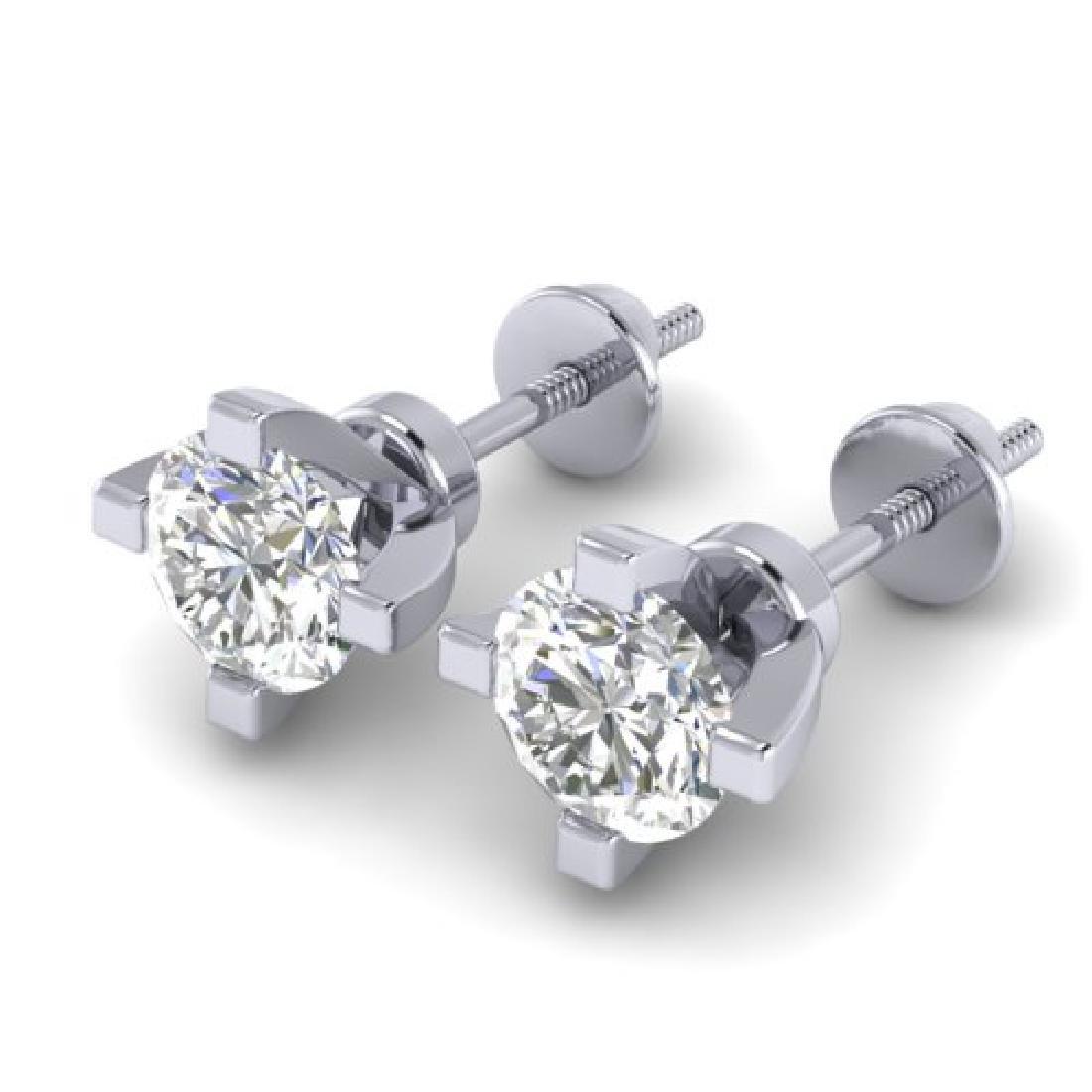 1 CTW Certified VS/SI Diamond Solitaire Stud Earrings - 2