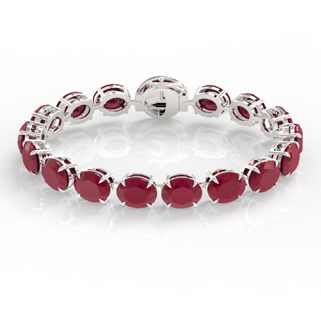 75 CTW Ruby & Micro Pave VS/SI Diamond Halo Bracelet - 2