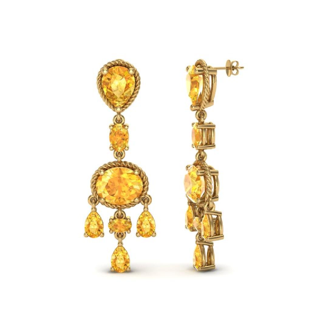 16 CTW Citrine Earrings Designer Vintage 10K Yellow - 2