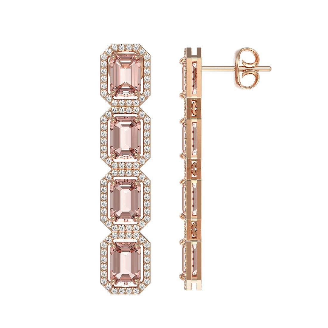 10.73 CTW Morganite & Diamond Halo Earrings 10K Rose - 2