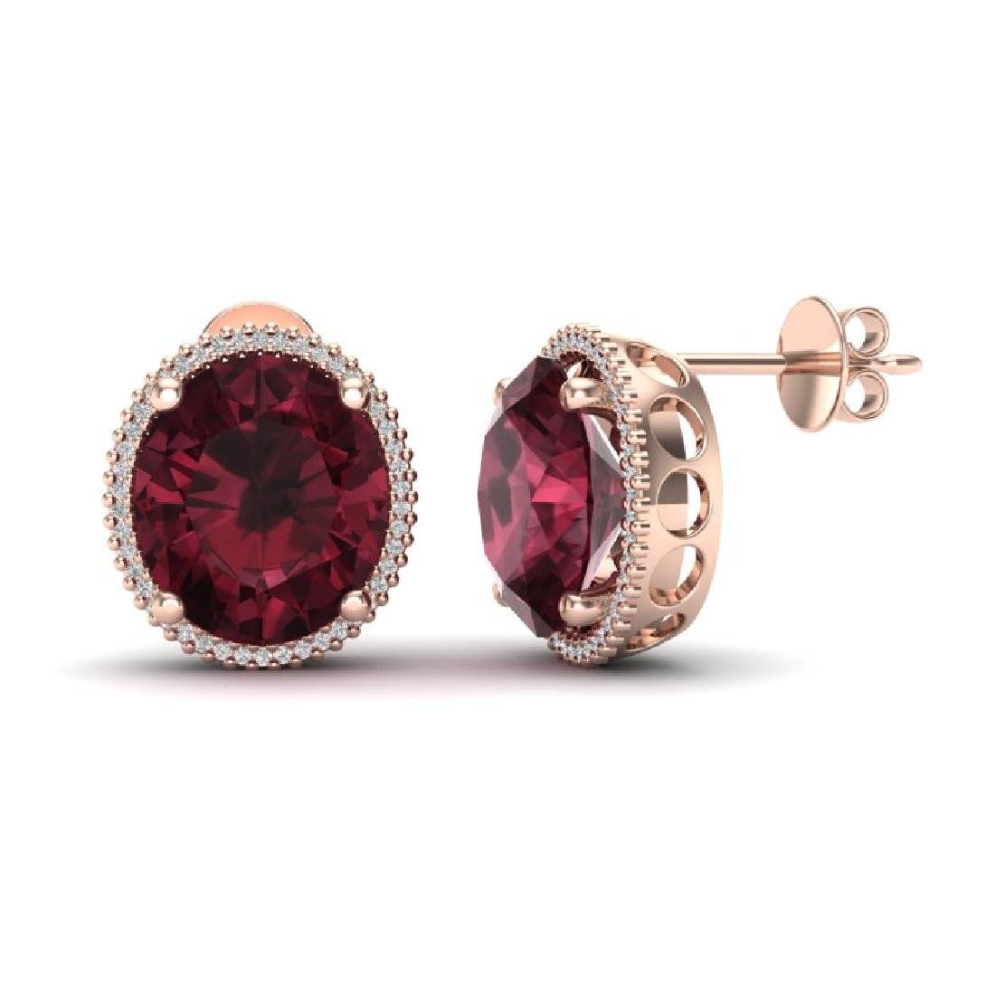 20 CTW Garnet & Micro Pave VS/SI Diamond Halo Earrings - 2