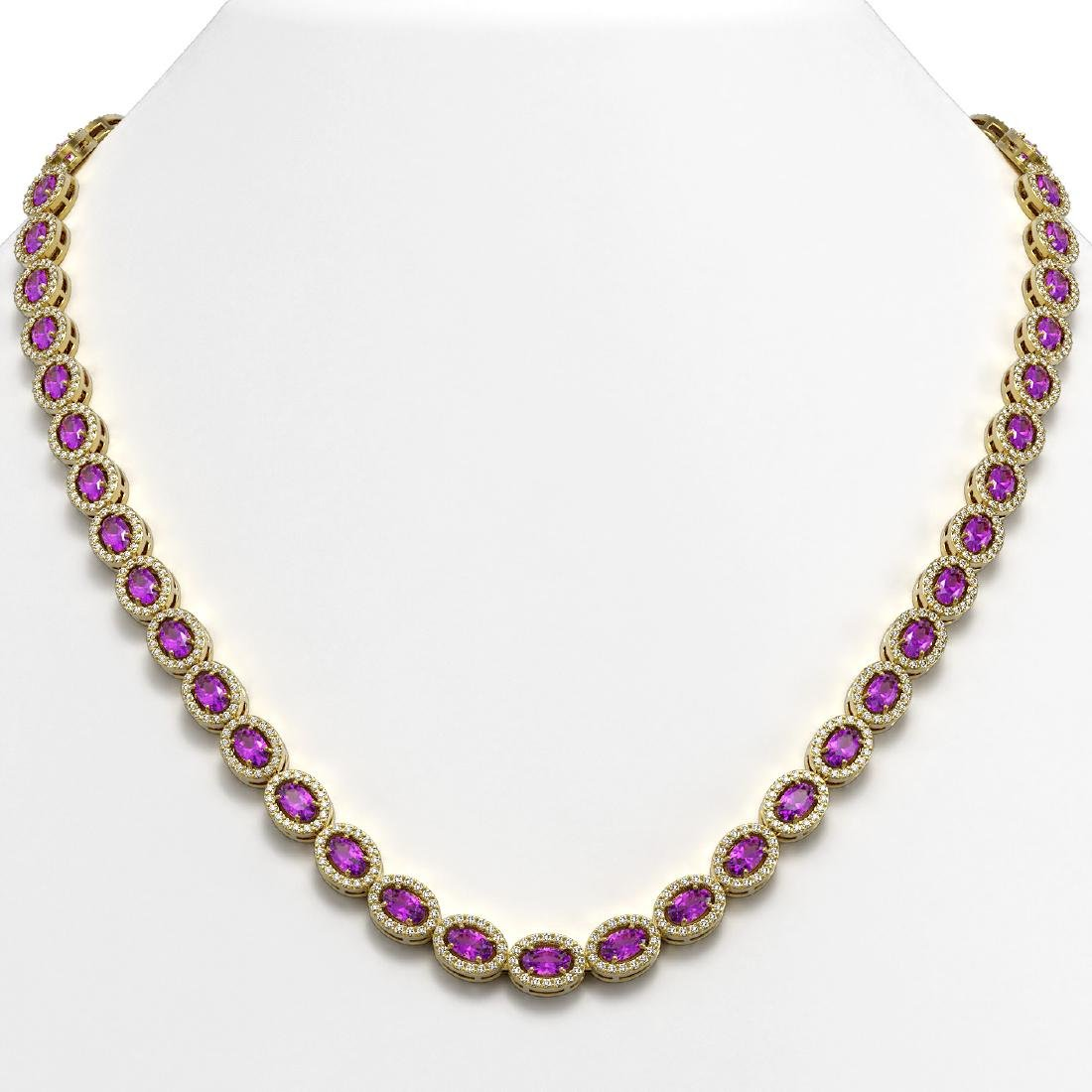 20.62 CTW Amethyst & Diamond Halo Necklace 10K Yellow