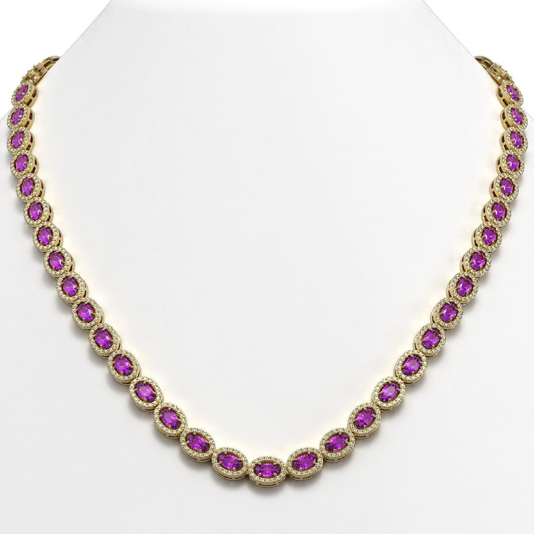 20.62 CTW Amethyst & Diamond Halo Necklace 10K Yellow