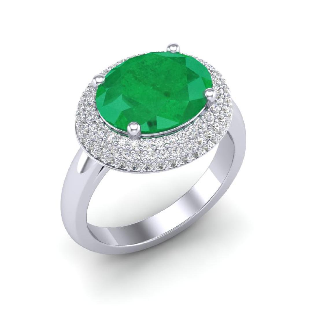 4.50 CTW Emerald & Micro Pave VS/SI Diamond Ring 18K