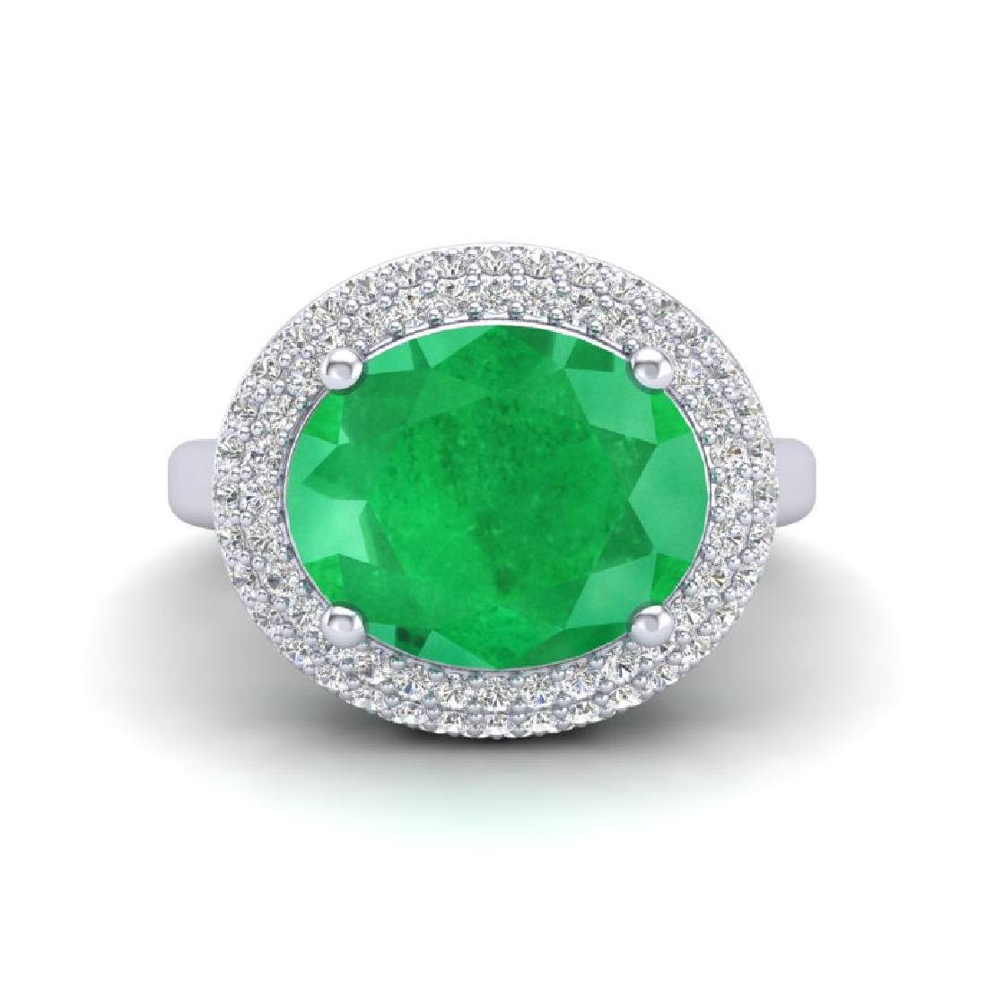 4.50 CTW Emerald & Micro Pave VS/SI Diamond Ring 18K - 2