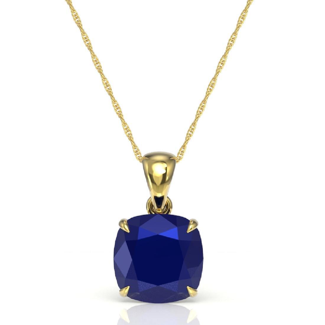 6 CTW Cushion Cut Sapphire Designer Solitaire Necklace - 2