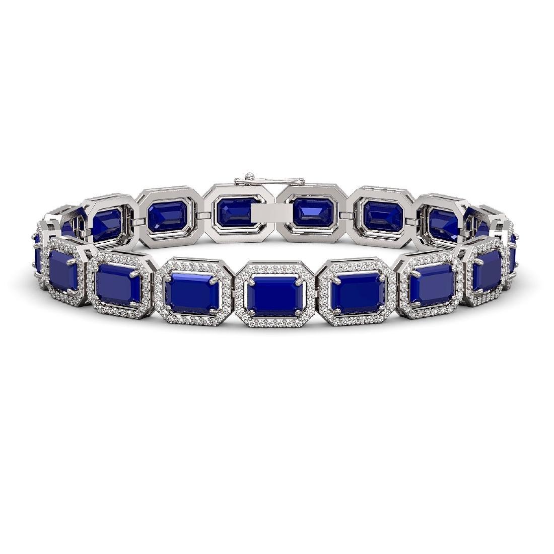 26.21 CTW Sapphire & Diamond Halo Bracelet 10K White