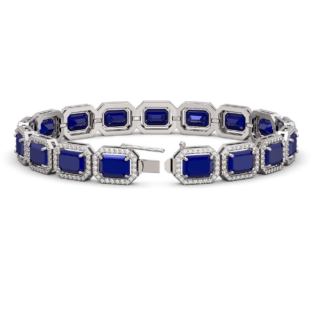 26.21 CTW Sapphire & Diamond Halo Bracelet 10K White - 2