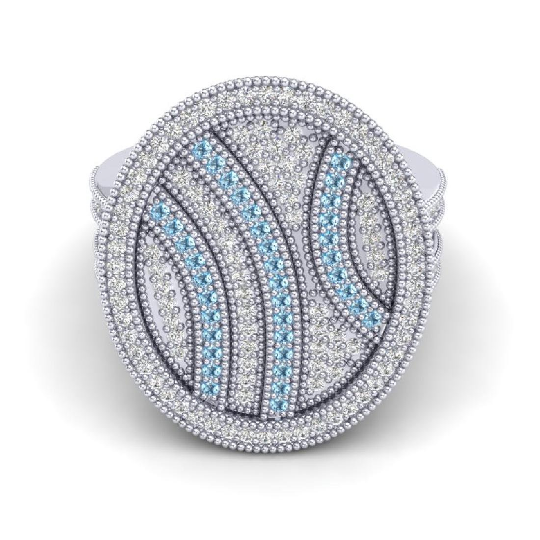 1.25 CTW Micro Pave Blue & White VS/SI Diamond Ring 14K - 2