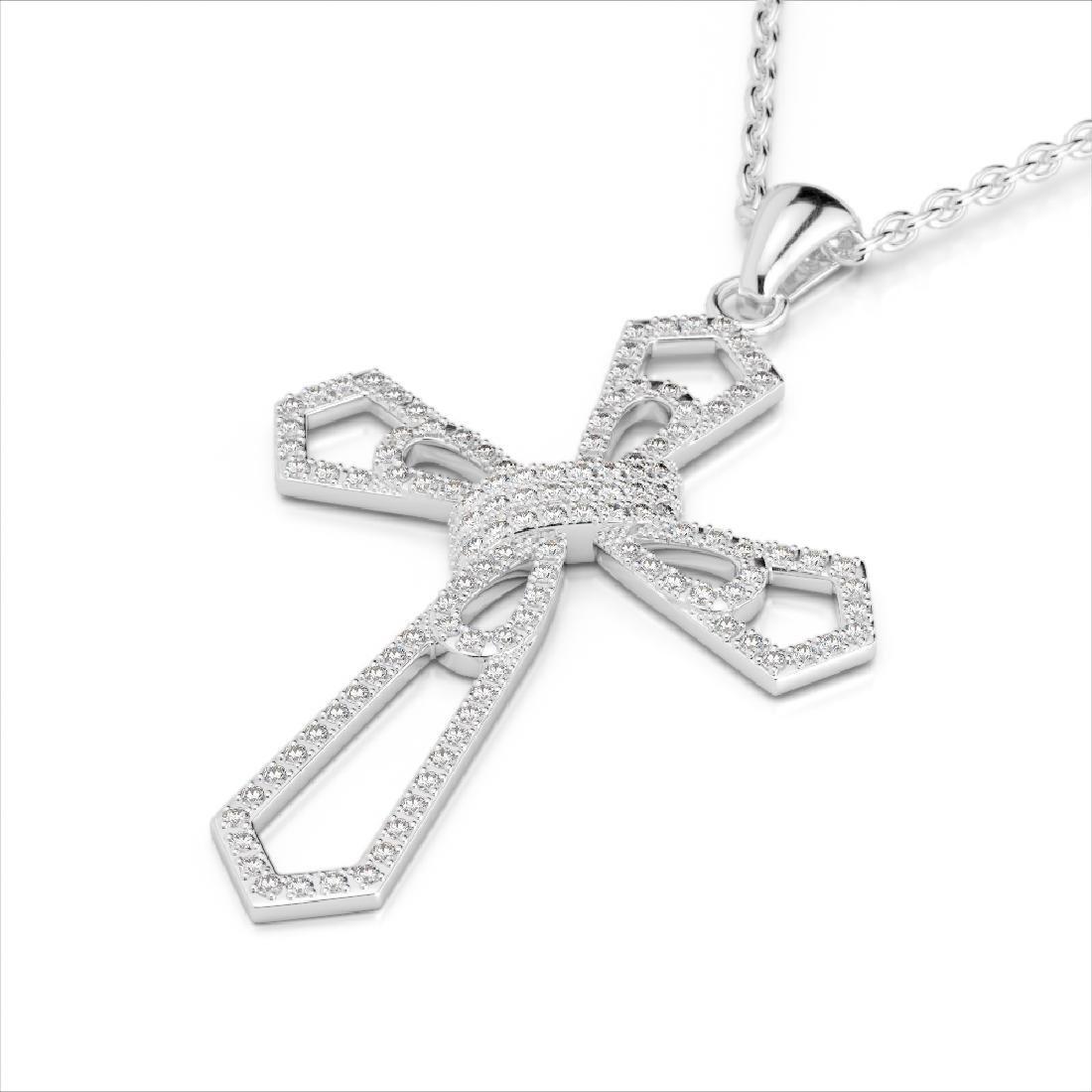 1 CTW Micro Pave VS/SI Diamond Cross Necklace 18K White