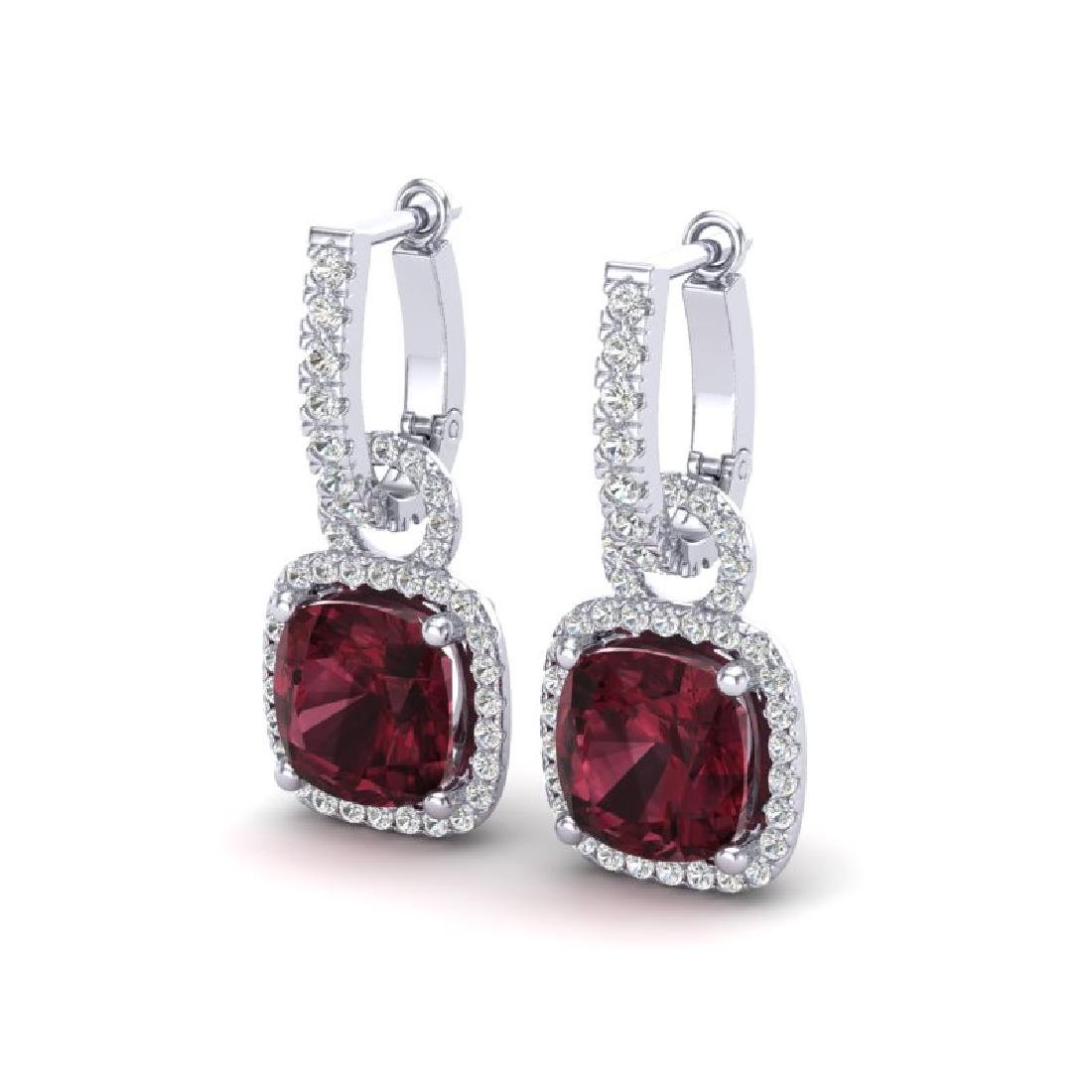 7 CTW Garnet & Micro Pave VS/SI Diamond Earrings 18K