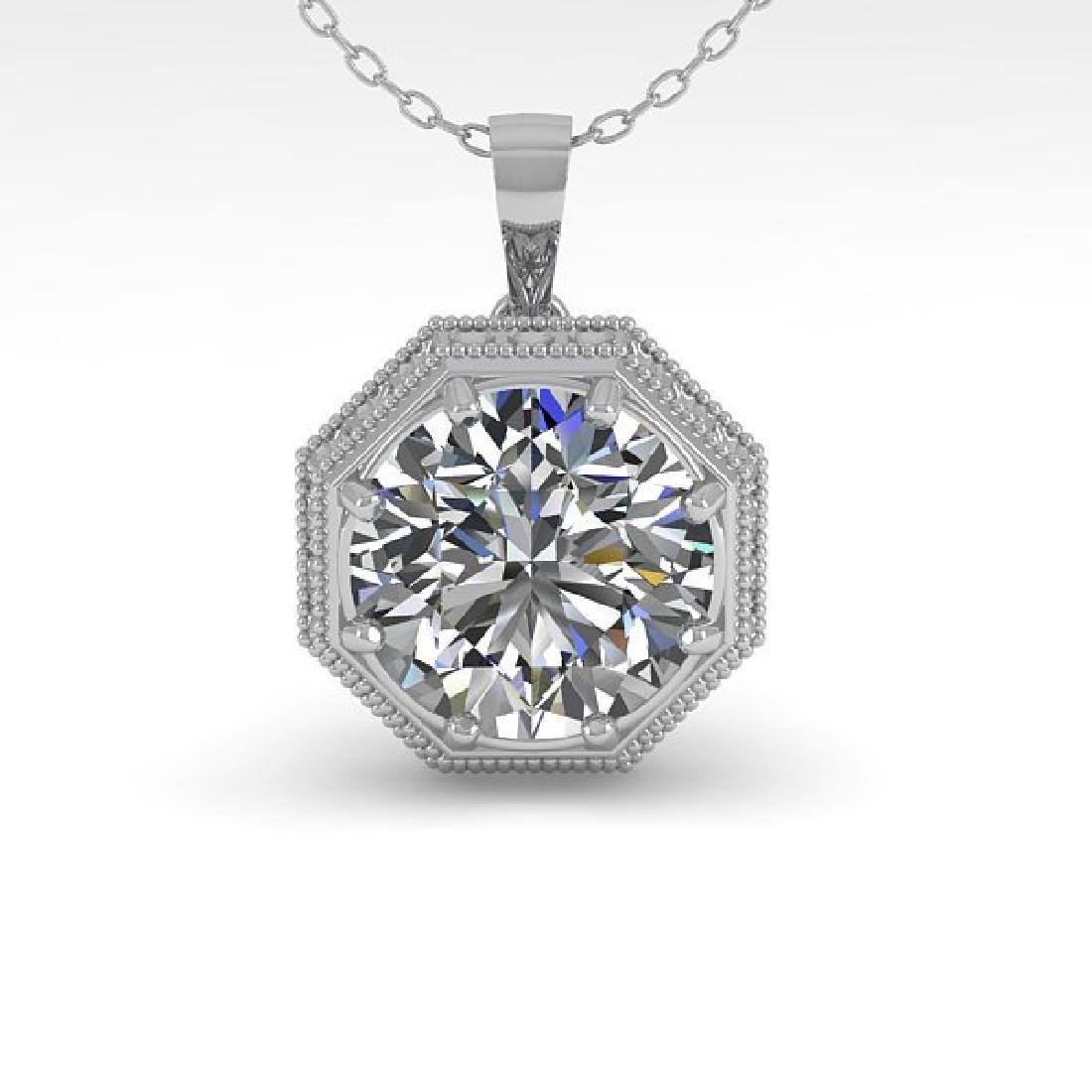 0.50 CTW VS/SI Diamond Solitaire Necklace 14K White - 2