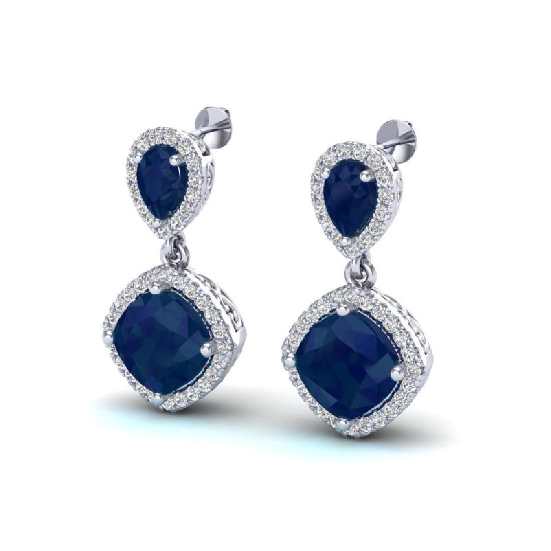 7 CTW Sapphire & Micro Pave VS/SI Diamond Earrings