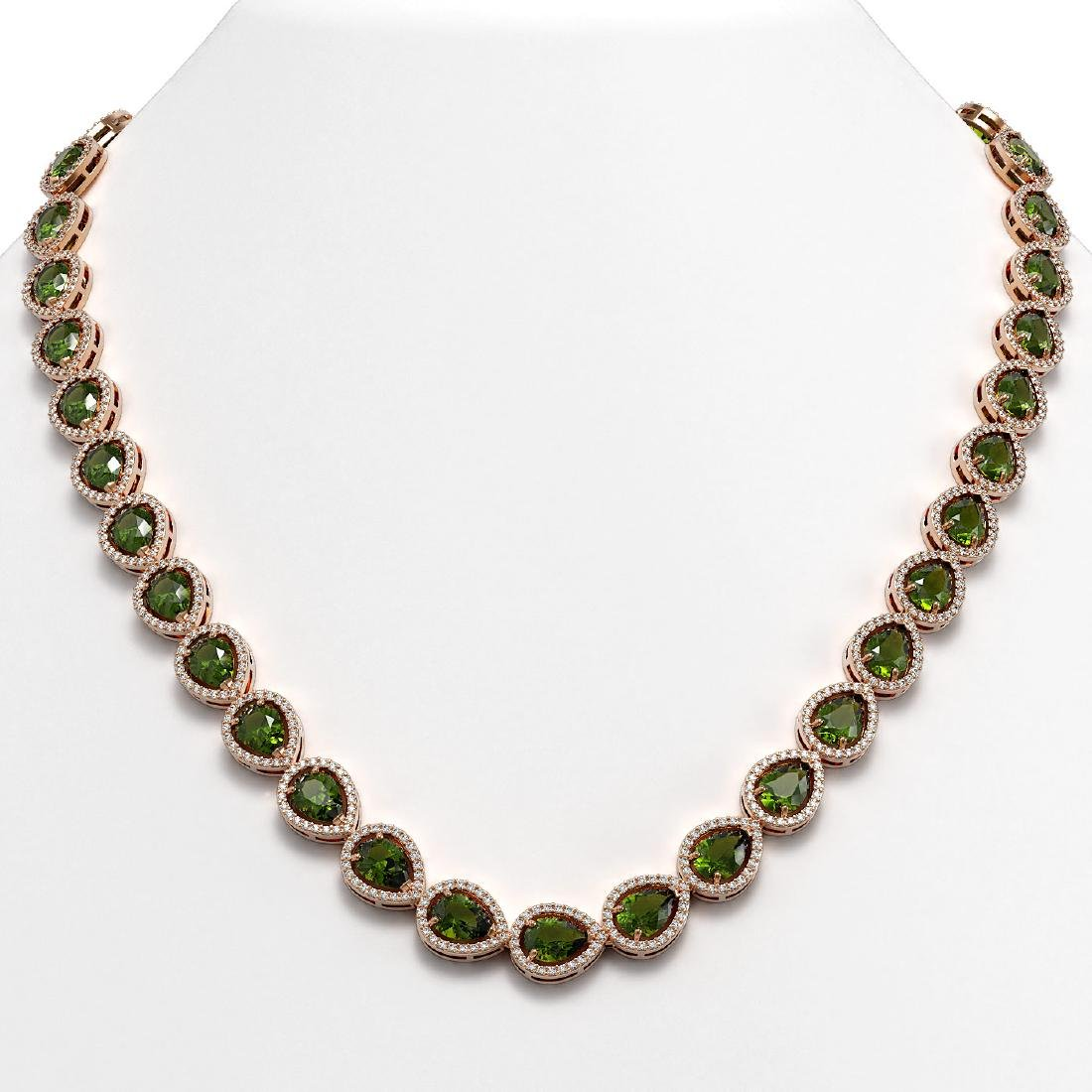35.13 CTW Tourmaline & Diamond Halo Necklace 10K Rose