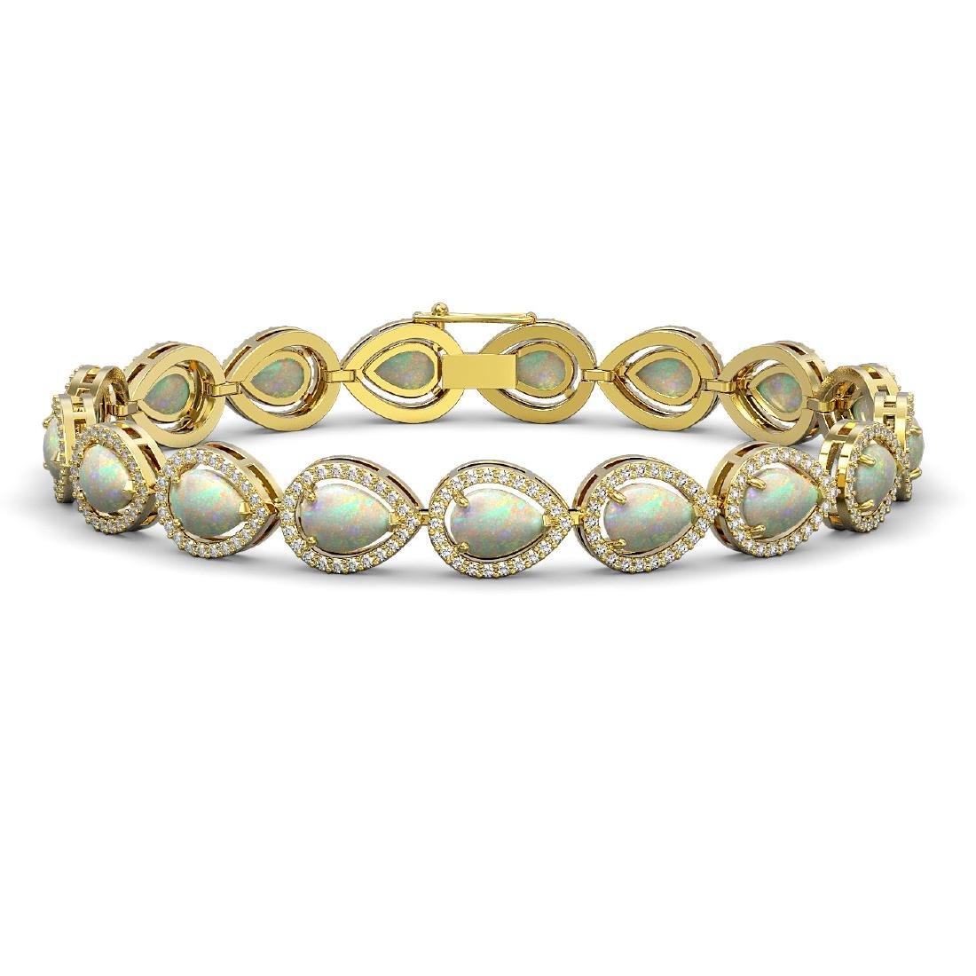 13.19 CTW Opal & Diamond Halo Bracelet 10K Yellow Gold