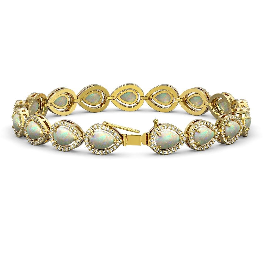 13.19 CTW Opal & Diamond Halo Bracelet 10K Yellow Gold - 2
