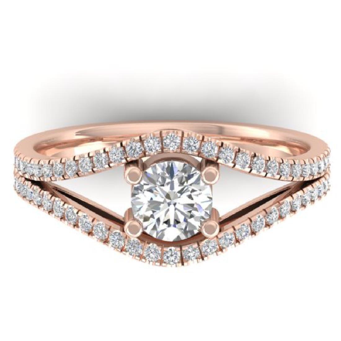 1.05 CTW Certified VS/SI Diamond Art Deco Ring 18K Rose