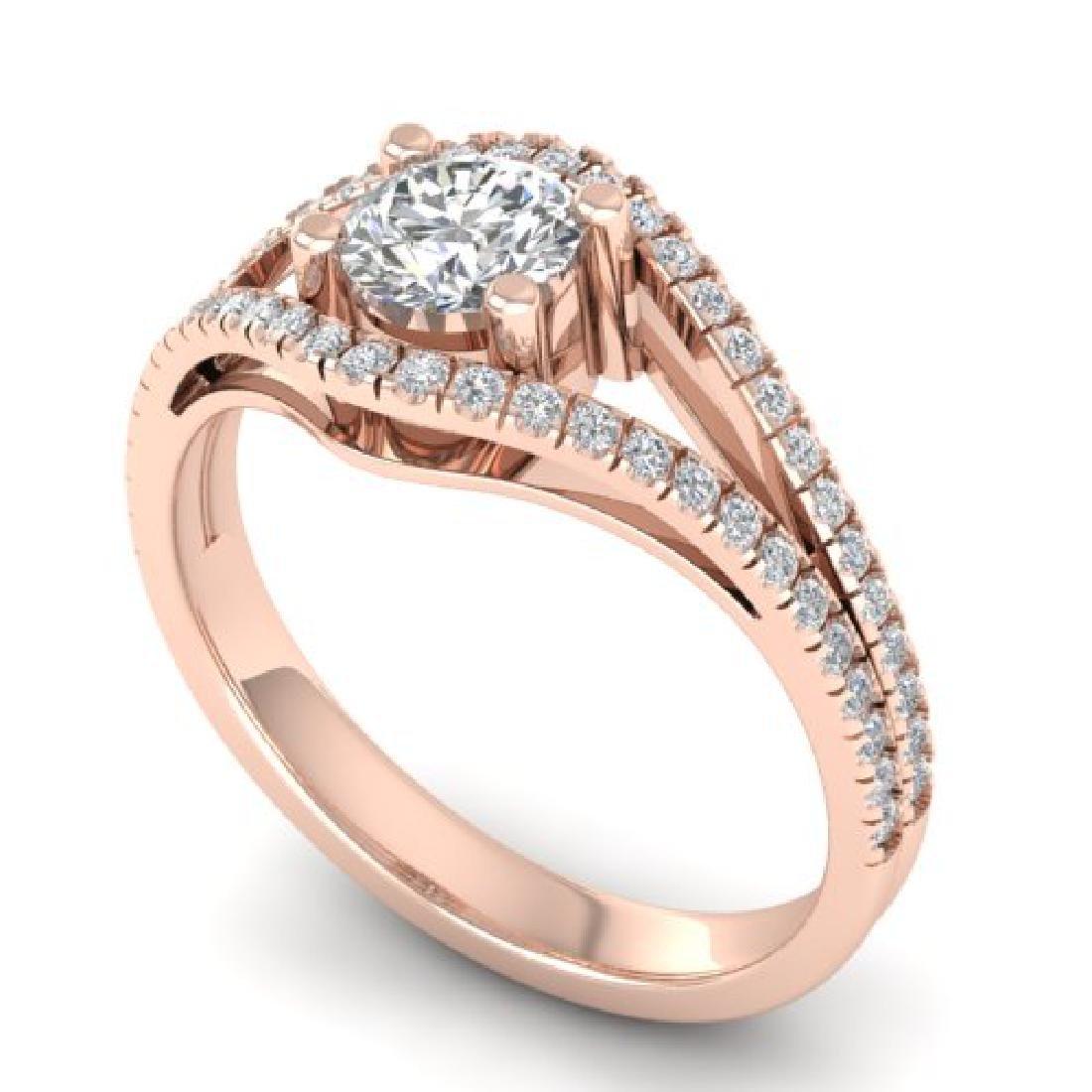 1.05 CTW Certified VS/SI Diamond Art Deco Ring 18K Rose - 2