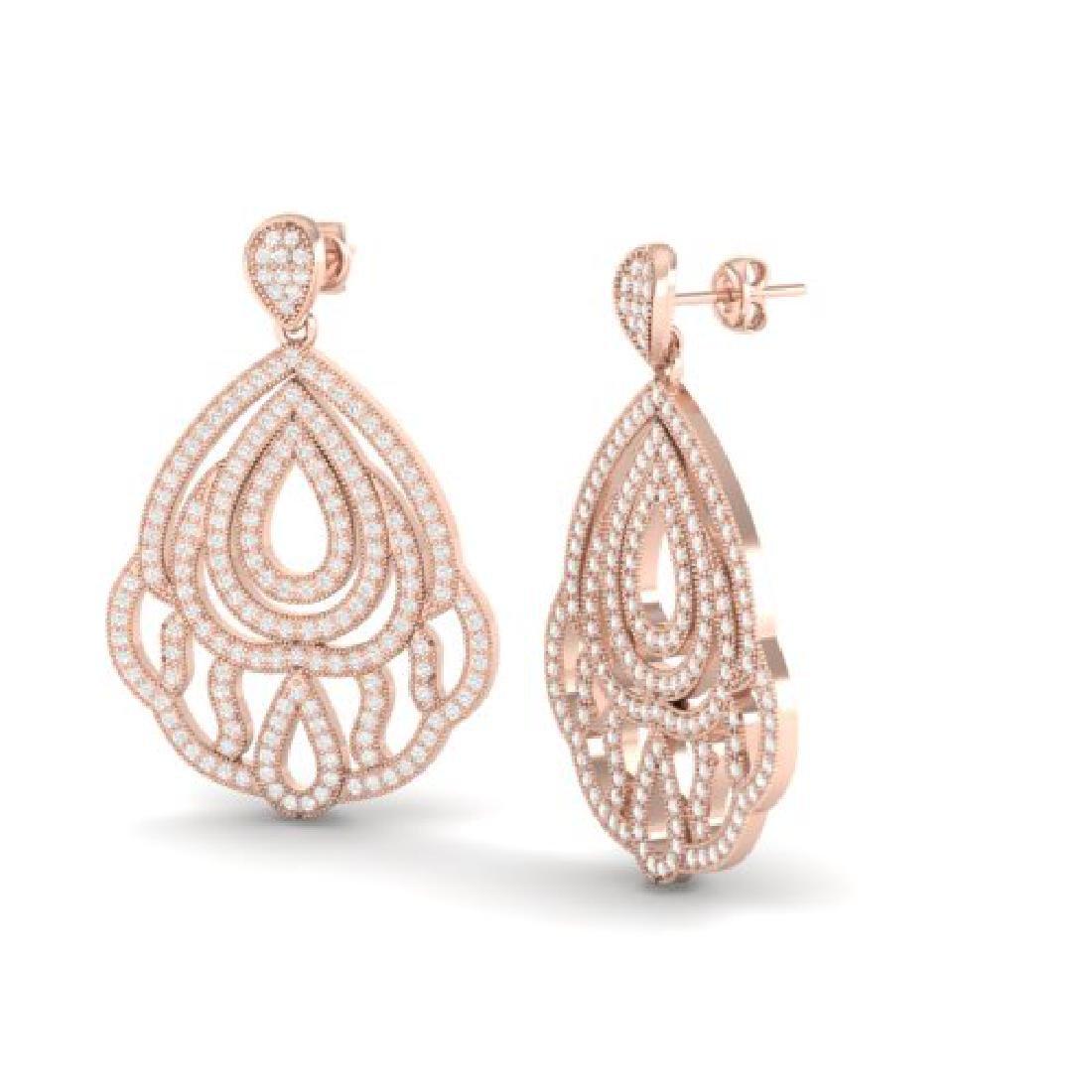 3 CTW Micro Pave VS/SI Diamond Earrings Designer 14K - 2