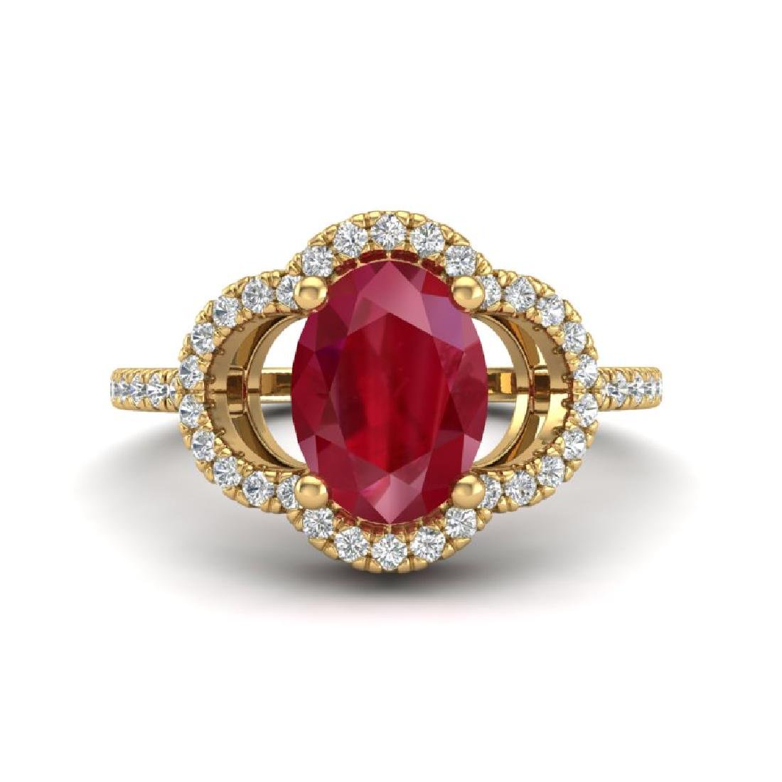 2 CTW Ruby & Micro Pave VS/SI Diamond Ring 10K Yellow