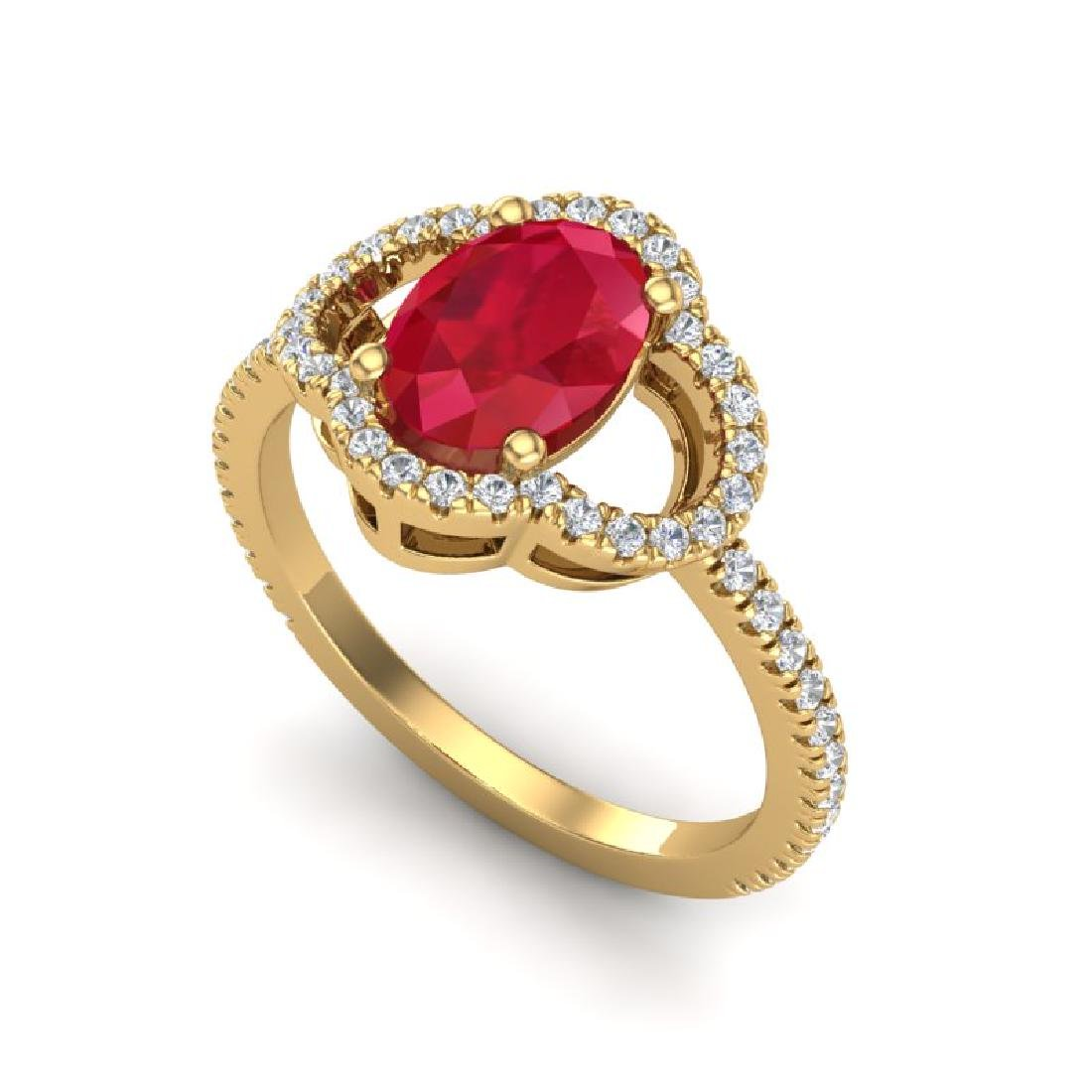 2 CTW Ruby & Micro Pave VS/SI Diamond Ring 10K Yellow - 2