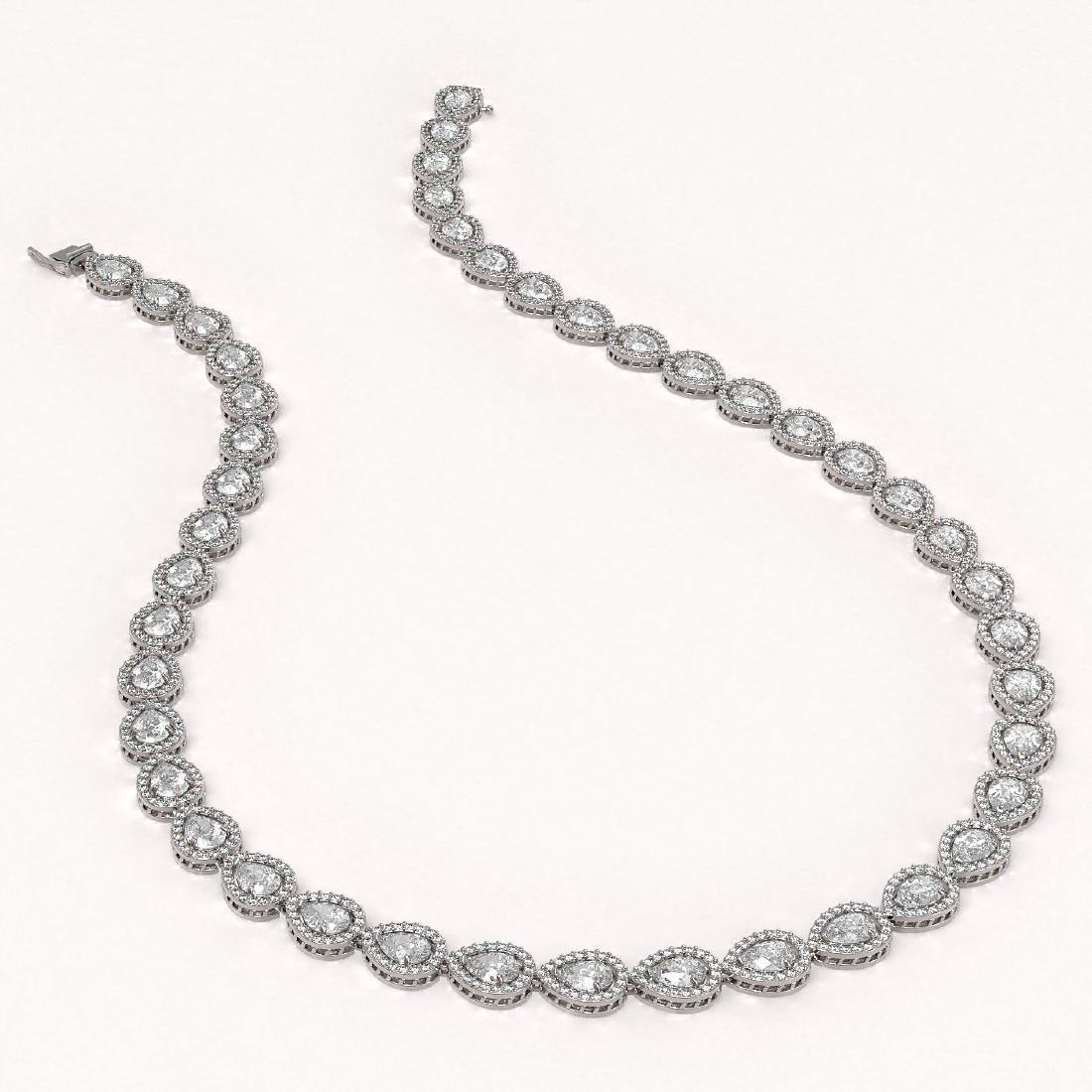 28.74 CTW Pear Diamond Designer Necklace 18K White Gold - 2